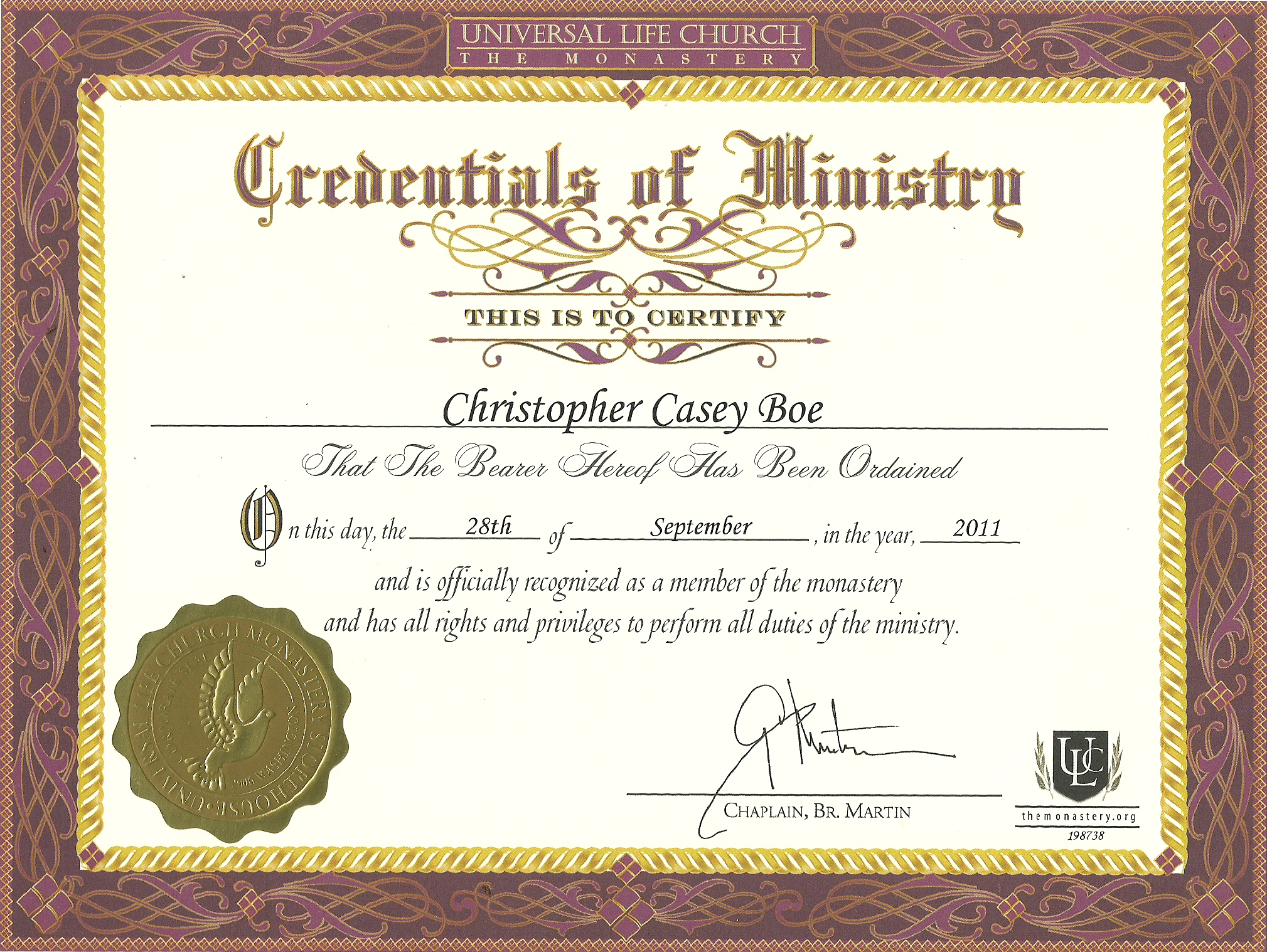 Credentials of ministry bhemian for Minister license certificate template